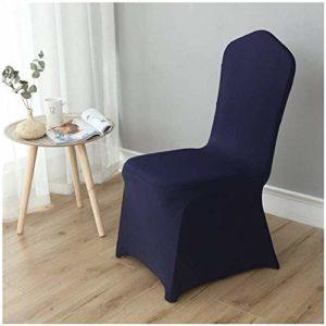 MWPO Housse de Chaise élastique Lavable pour Les Housses de siège latérales de Hauteur comptoir pour Les chaises carrées des hôtels (Couleur: Bleu Marine, Taille: 50 Pack)