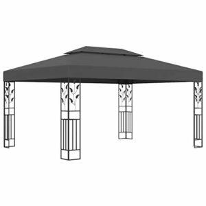 Tente de réception CFG avec double toit pour extérieur de jardin – Imperméable – Résistant aux UV – 3 x 4 m – Tonnelle anthracite pour patios