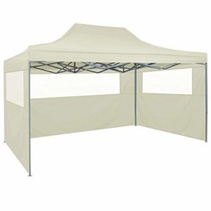Tidyard Tente de fête pop-up avec 4 parois latérales | Tonnelle pliable en acier | Auvent de jardin imperméable 3x4m bleu
