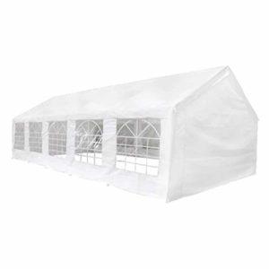 Tidyard Tente de Réception/Tente de Fête/Tente de Barbecues 10 x 5 m Blanc en Acier et PE