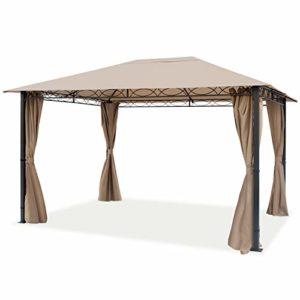 TOOLPORT Pavillon de Jardin Pavillon Premium imperméable de 3×4 m avec Tente de Jardin à 4 côtés bâche de Toit 280 g/m² en Tente de réception Taupe