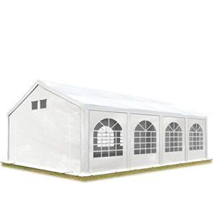 TOOLPORT Tente de réception 4×8 m Tente de Jardin Blanc bâche PE 300 g/m² imperméable résistante aux UV avec Cadre de Sol