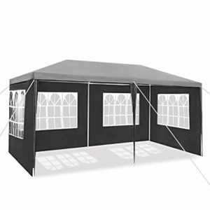 UISEBRT Tonnelle imperméable 3 x 4 m – Tonnelle de jardin avec 4 parois latérales – Pour jardin, fête, mariage, gris foncé