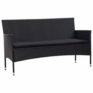 vidaXL Canapé de Jardin à 3 Places avec Coussins Canapé de Terrasse Canapé de Patio Extérieur Résistant à l'eau Noir Résine Tressée