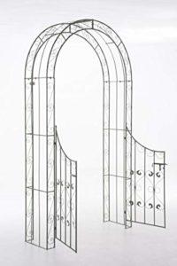 CLP Arche de Jardin avec Portillon Sina – Arceau de Jardin Romantique en Fer Forgé – Support pour Plantes Grimpantes avec Porte Style Shabby-Chic – Couleur : Vert Antique