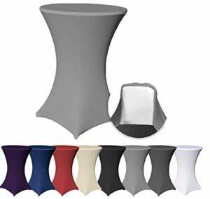 Housse pour table pour table de bistrot stretch avec 4pieds pattes élastique, Tissu, anthracite, Ø 60×120 cm