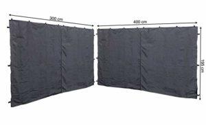 QUICK STAR RAL 7012 Lot de 2 Panneaux latéraux avec Fermeture Éclair pour tonnelle Anthracite 3 x 4 m