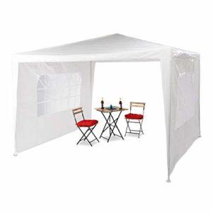 Relaxdays Tonnelle pavillon chapiteau pergola Festival 3×3 m, 2 côtés fenêtres métal PE Tente de Jardin, Blanc, 300 x 300 x 250 cm