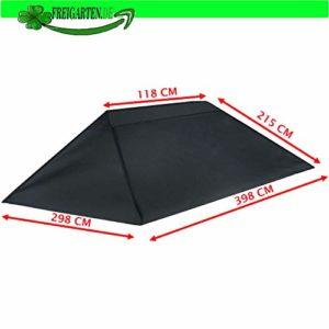 Toit de Rechange pour tonnelle 3 x 4 m – Sable – Imperméable – Matériau : Panama PCV Soft 370 g/m² – Modèle 9 Anthracite