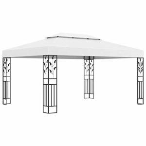 vidaXL Tonnelle avec Double Toit Belvédère Chapiteau de Jardin Tente de Réception de Patio Pavillon d'Extérieur Terrasse Pique-Nique 3×4 m Blanc