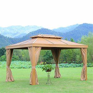 WSN Auvent de Gazebo, Tente escamotable d'extérieur avec moustiquaire pour fournir de l'ombre supplémentaire à Votre Cour, fêtes sur Le Patio et activités de Plein air,3 x 4m